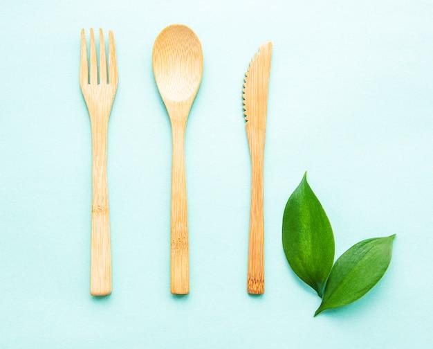 Ekologiczny Zestaw Sztućców Bambusowych Premium Zdjęcia