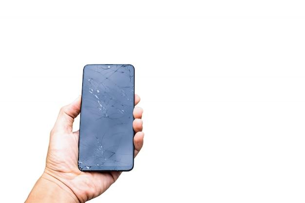 Ekran Smartfona Pękł Zepsuty Ekran Na Białym Tle Premium Zdjęcia