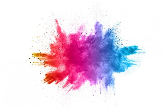 Eksplozja Kolorowy Proszek Na Białym Tle Premium Zdjęcia