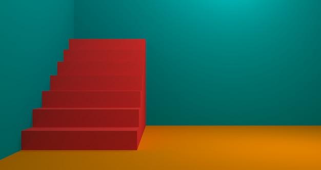 Ekspozycja Modnych Produktów W Kolorze Koralowym. Tło Renderowania 3d. Premium Zdjęcia