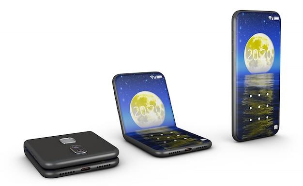 Elastyczne Smartfony W Zgiętej I Nieugiętej Formie. Premium Zdjęcia