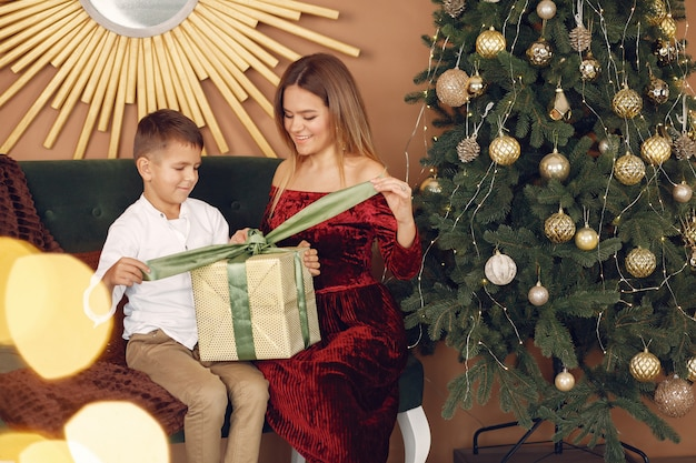 Elegancka Matka Siedzi W Domu Z Małym Synkiem Darmowe Zdjęcia