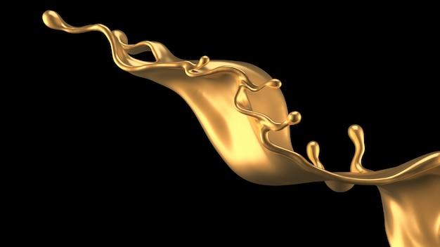 Elegancki, Luksusowy Plusk Złotej Cieczy. Ilustracja, Renderowanie 3d. Premium Zdjęcia