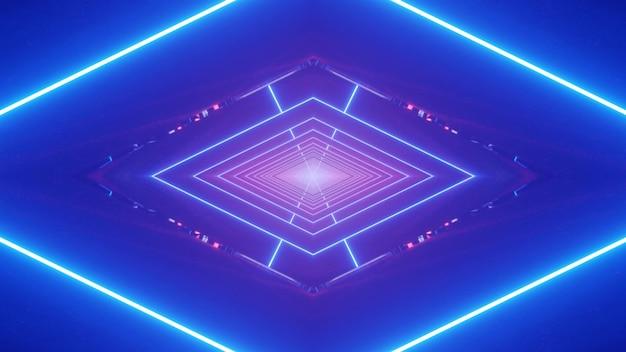 Eleganckie Abstrakcyjne Tło Ilustracji 3d Z Geometrycznym Symetrycznym Rombem Utworzonym Ze świecących Linii Neonowych I Błysków Na świetlistym Niebieskim Tle Premium Zdjęcia