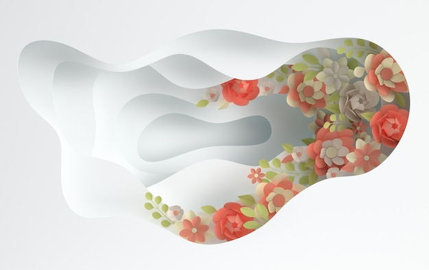 Eleganckie Papierowe Kwiaty I Papierowe Warstwy Otworów Premium Zdjęcia