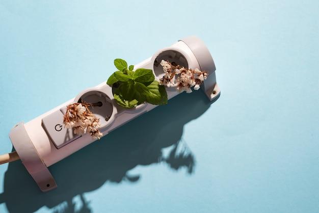 Elektroniczna Wtyczka Kablowa Z Zieloną Miętą I Kwiatami Na Niebiesko Premium Zdjęcia