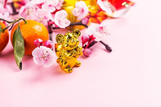 Elementy Chińskiego Nowego Roku Na Różowo Premium Zdjęcia