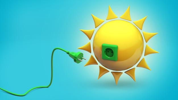 Energia Słoneczna. Słońce Z Gniazdem I Zielonym Kablem Z Wtyczką. Niebieskie Tło. Renderowania 3d. Premium Zdjęcia