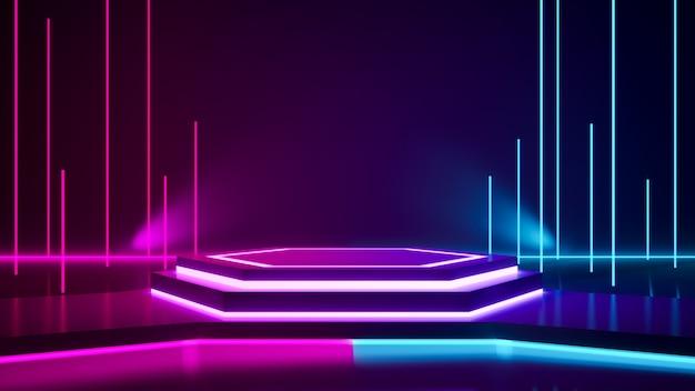 Etap sześciokątny i fioletowe światło neonowe Premium Zdjęcia