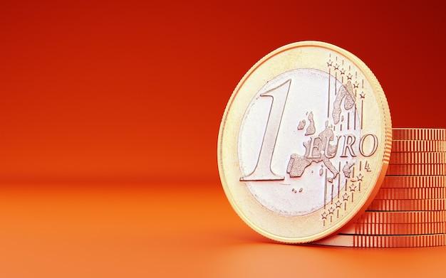Euro Moneta Na Pomarańczowym Tle. Renderowania 3d Premium Zdjęcia