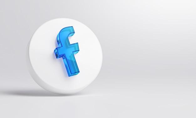 Facebook Ikona Akrylowego Szkła Na Białym Tle Renderowania 3d. Premium Zdjęcia