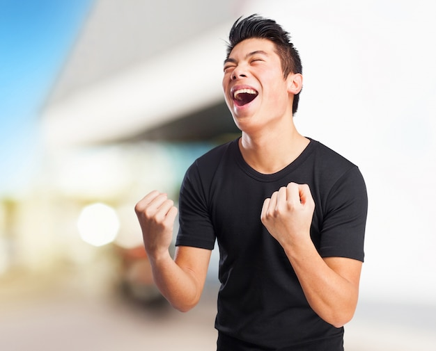 Fajne Chinese-man Zwycięzcą Znak Darmowe Zdjęcia