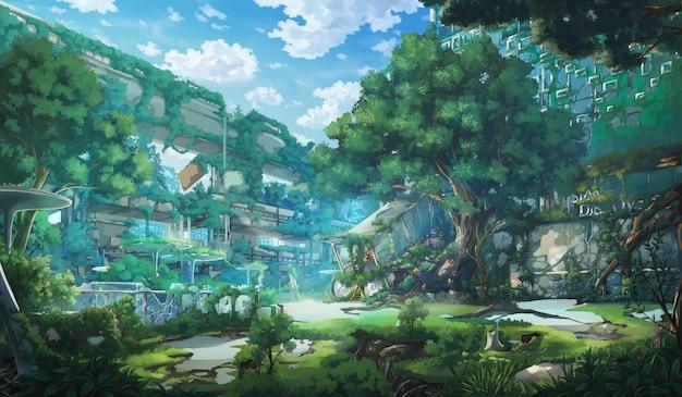 Fantasy Opuszczone Miasto - Dzień. Premium Zdjęcia