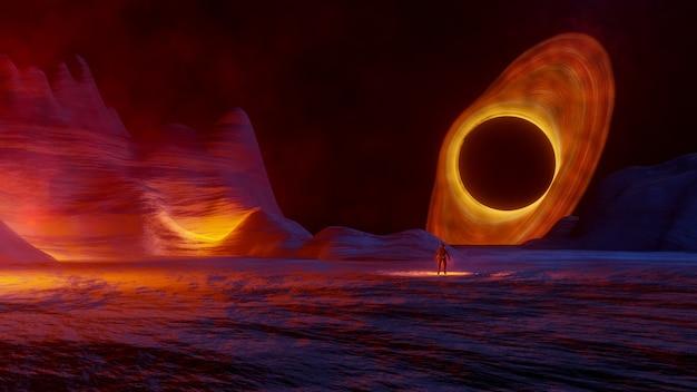 Fantasy Space Gwiazdowe Oświetlenie Wolumetryczne Premium Zdjęcia