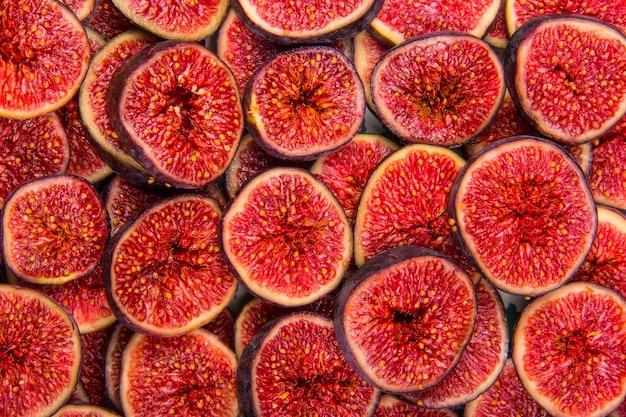 Figi Plastry Owoców Tło Premium Zdjęcia