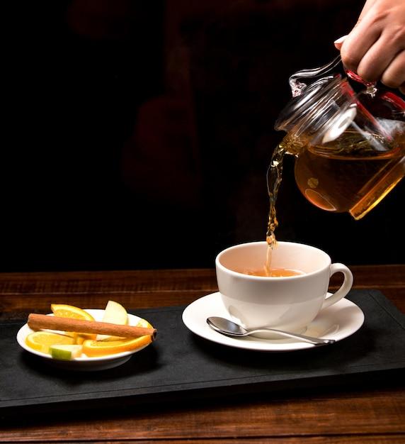 Filiżanka Aromatycznej Herbaty I Miska Z Cytryną Darmowe Zdjęcia
