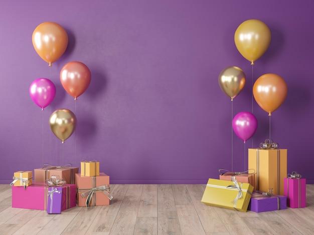 Fioletowa, Pusta ściana W Ultrafiolecie, Kolorowe Wnętrze Z Prezentami, Prezentami, Balony Na Imprezę, Urodziny, Wydarzenia. 3d Render Ilustracji, Makieta. Premium Zdjęcia