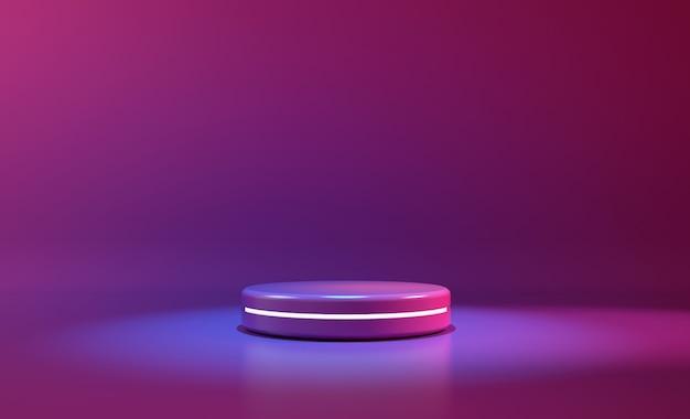 Fioletowe światło neonowe w kształcie koła. streszczenie futurystyczne tło Premium Zdjęcia