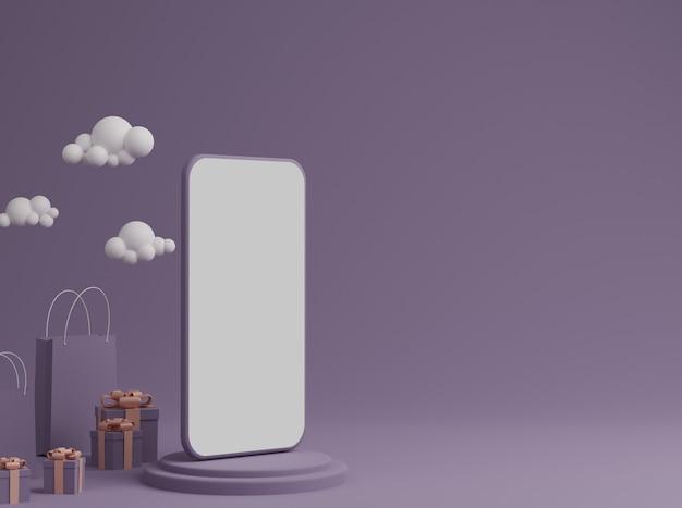 Fioletowe Tło Z Pustym Białym Ekranem Mobilnej Makiety, Pudełku Prezentowym I Torbie Na Zakupy Premium Zdjęcia
