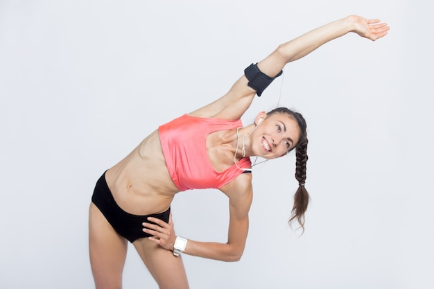 Fitness Girl Robi ćwiczenia Zginania Bocznego Darmowe Zdjęcia