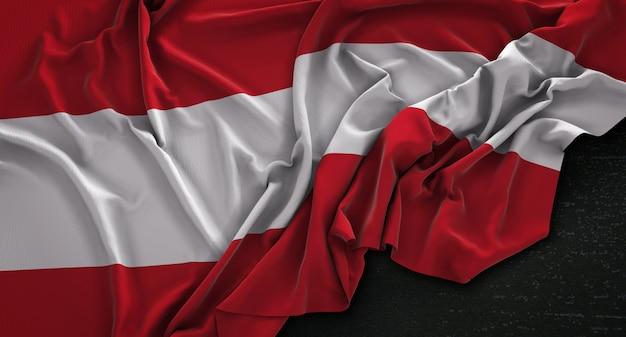 Flaga austrii pomarszczony na ciemnym tle renderowania 3d Darmowe Zdjęcia