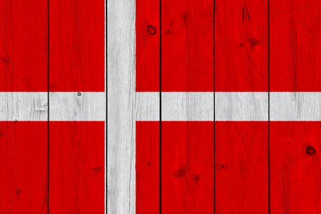 Flaga Danii Malowane Na Starej Desce Premium Zdjęcia