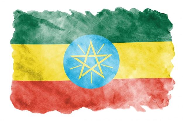 Flaga Etiopii Jest Przedstawiona W Płynnym Stylu Akwareli Na Białym Tle Premium Zdjęcia
