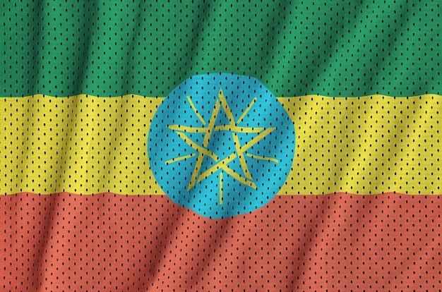 Flaga Etiopii Nadrukowana Na Siatkowej Nylonowej Tkaninie Sportowej Premium Zdjęcia