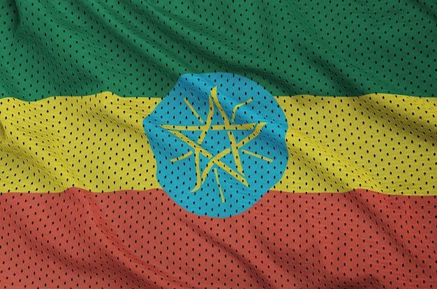 Flaga Etiopii Wydrukowana Na Nylonowej Siatce Z Poliestru Premium Zdjęcia