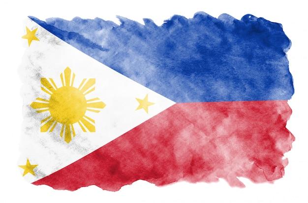 Flaga Filipin Jest Przedstawiona W Płynnym Stylu Akwareli Na Białym Tle Premium Zdjęcia