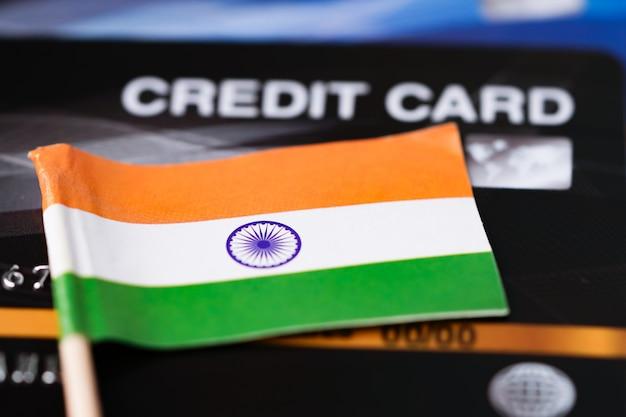 Flaga Indii Na Karcie Kredytowej. Premium Zdjęcia