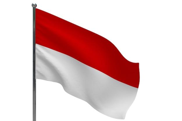 Flaga Indonezji Na Słupie. Maszt Metalowy. Flaga Narodowa Indonezji 3d Ilustracja Na Białym Tle Premium Zdjęcia