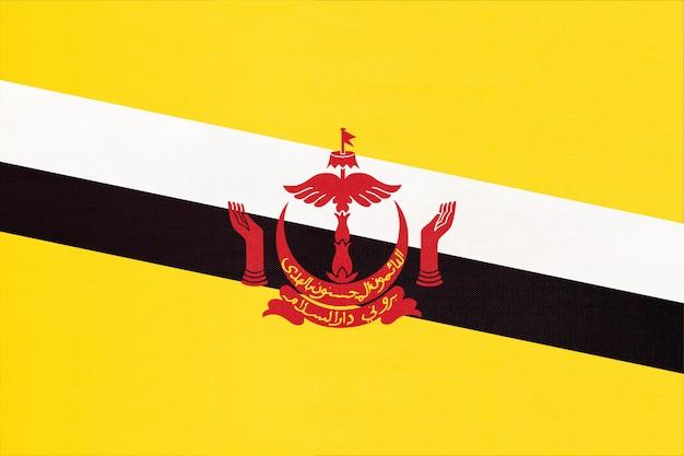 Flaga Kraju Brunei Tkanina Tło Włókienniczych, Symbol świata Azjatyckiego Kraju, Premium Zdjęcia