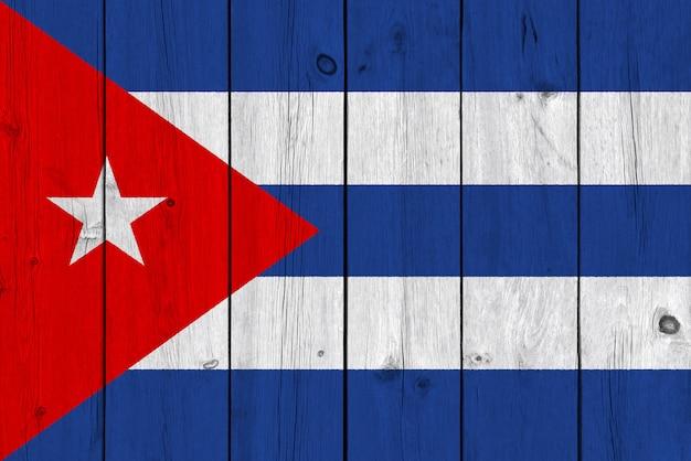 Flaga Kuby Malowane Na Starej Desce Premium Zdjęcia
