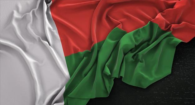 Flaga Madagaskaru Zmarszczki Na Ciemnym Tle Renderowania 3d Darmowe Zdjęcia