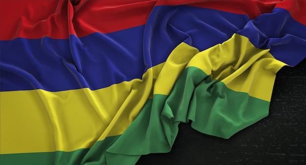 Flaga Mauritiusa Pomarszczony Na Ciemnym Tle Renderowania 3d Darmowe Zdjęcia