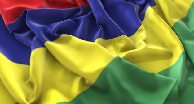 Flaga Mauritiusa Ruffled Pięknie Macha Makro Close-up Shot Darmowe Zdjęcia