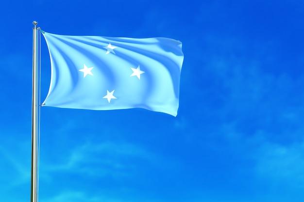 Flaga Micronesia Na Niebieskiego Nieba Tła 3d Renderingu Premium Zdjęcia
