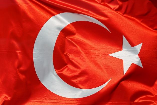 Flaga turcji na macha tekstury bawełny. Premium Zdjęcia