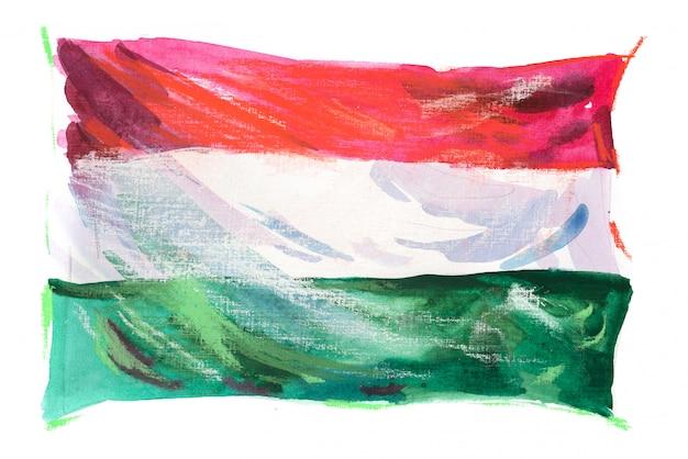 Flaga Węgier Malowane W Akwarele Premium Zdjęcia