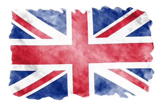 Flaga wielkiej brytanii jest przedstawiona w płynnym stylu akwareli na białym tle Premium Zdjęcia