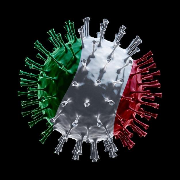 Flaga Włoch Na Covid-19 To Koncepcja Wirusa. Renderowanie 3d Premium Zdjęcia