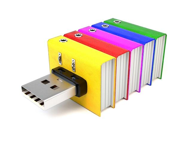 Flash drive z folderami, na białym tle. Premium Zdjęcia