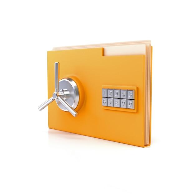 Foldery biurowe z bezpiecznymi zamkami. Premium Zdjęcia