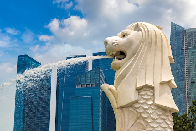 Fontanna Merlion - Symbol Singapuru Premium Zdjęcia