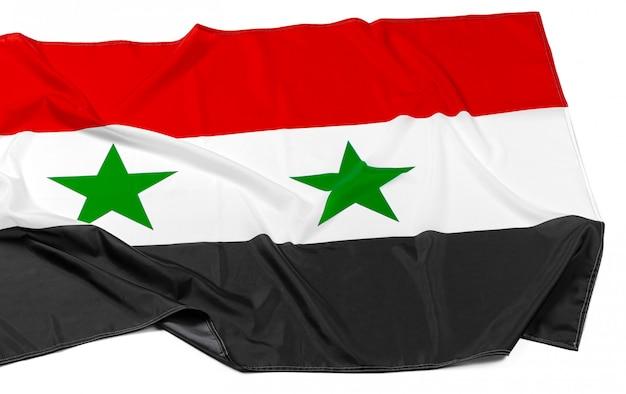 Fotografia Tkaniny Syrii Flaga Zakończenie Up Premium Zdjęcia