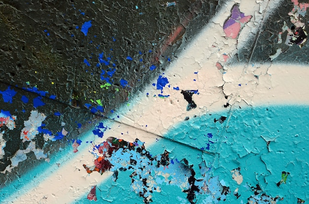 Fragment Kolorowego Malowania Graffiti W Odcieniach Niebieskiego Premium Zdjęcia