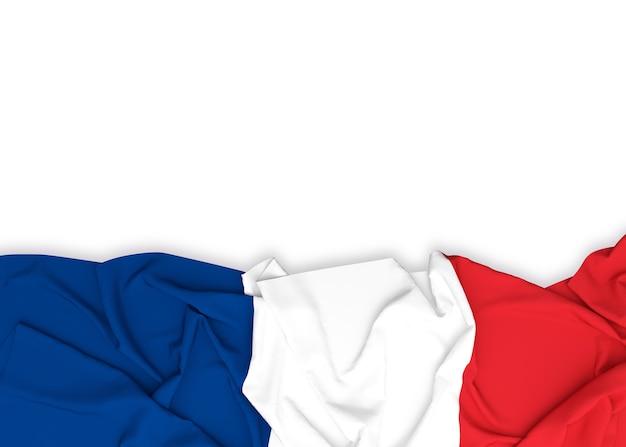 Francja Flaga Na Białym Tle Z ścinek ścieżką Premium Zdjęcia