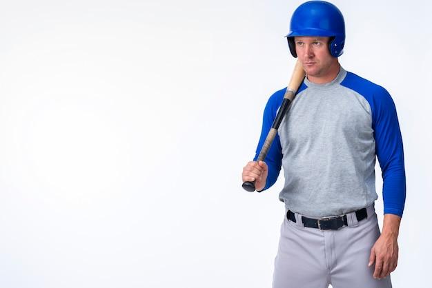 Frontowy Widok Gracz Baseballa Z Kopii Przestrzenią Darmowe Zdjęcia