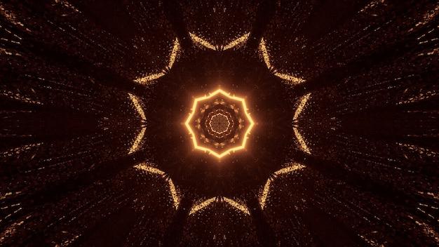 Futurystyczna Ośmiokątna Mandala Science-fiction Z Brązowymi I Złotymi światłami Darmowe Zdjęcia